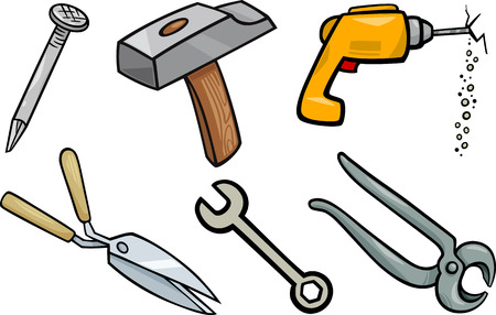 claw hammer: Cartoon Illustration of Tools Objects Clip Art Set