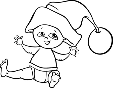 black baby boy: Black and White Cartoon Illustration of Cute Little Baby Boy in Santa Claus Hat for Christmas for Coloring Book