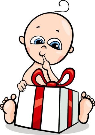 comic baby: Cartoon Illustration of Cute Little Baby Boy in with Christmas Present