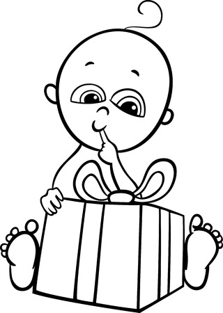 black baby boy: Black and White Cartoon Illustration of Cute Little Baby Boy in with Christmas Present for Coloring Book