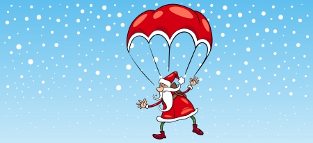 Greeting Card Cartoon Illustration of Santa Claus Flying on Parachute for Christmas Vector