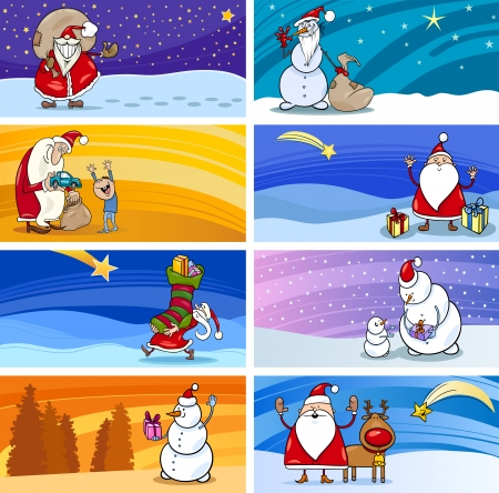 papa noel: Cartoon Illustration of Greeting Cards with Santa Claus or Papa Noel or Father Christmas and other Holiday Themes Set