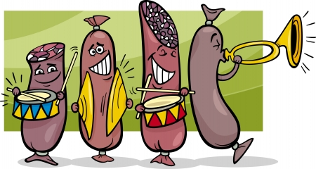 Cartoon Illustration of Funny Sausages Marching Band Vector