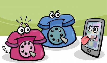malicious: Cartoon Illustration of Malicious Smart Phone or Mobile and Retro Phones