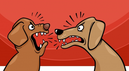 Cartoon Illustration of Two Angry Barking and Growling Dogs Vector