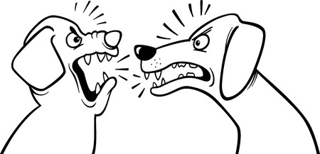 Black and White Cartoon Illustration of Two Angry Barking and Growling Dogs for Coloring Book Illustration