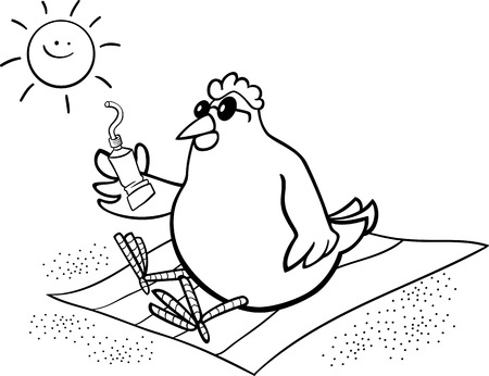 Beach Towel Black And White Cartoon Illustration Of Chicken Or Hen On The With