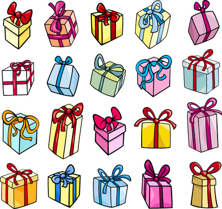 Cartoon Illustration of Christmas or Birthday Presents or Gifts Objects Clip Art Set Vector