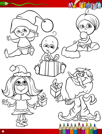 Coloring Book Cartoon Illustration of Black and White Christmas Themes Set with Cute Babies and Children Vector