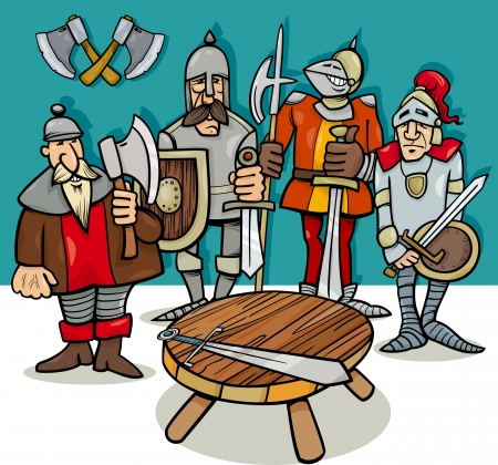 ancient warrior: Cartoon Illustration of Legendary Knights of the Round Table