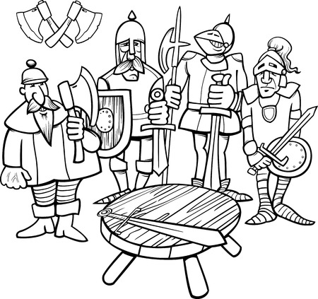 Black and White Cartoon Illustration of Legendary Knights of the Round Table for Coloring Book