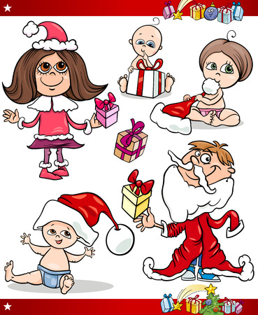 Cartoon Illustration of Santa Claus or Papa Noel, Presents, Gifts and other Christmas Themes set Vector
