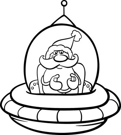 libros volando: Blanco y Negro Ilustración de dibujos animados de Santa Claus volando en la nave espacial en tiempo de Navidad para colorear Libro Vectores
