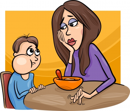 Cartoon Illustration of Cute Poor Eater Boy with his Mum having a Meal Illustration