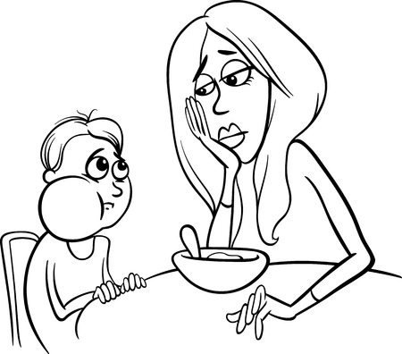 eater: Black and White Cartoon Illustration of Cute Poor Eater Boy with his Mum having a Meal for Coloring Book Illustration