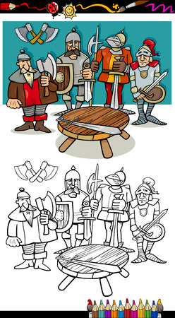 halberd: Coloring Book or Page Black and White Cartoon Illustration of Legendary Knights of the Round Table for Coloring Book