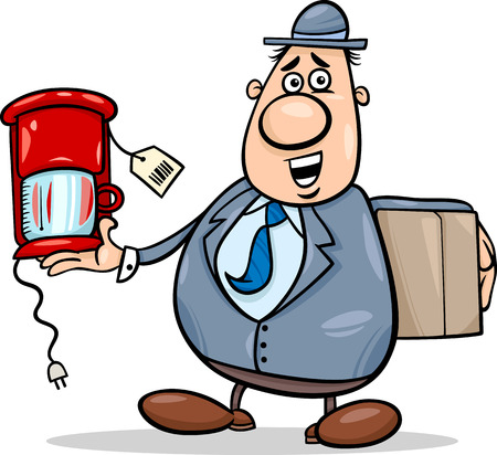 dodger: Cartoon Illustration of Funny Salesman or Bagman with Coffee Maker
