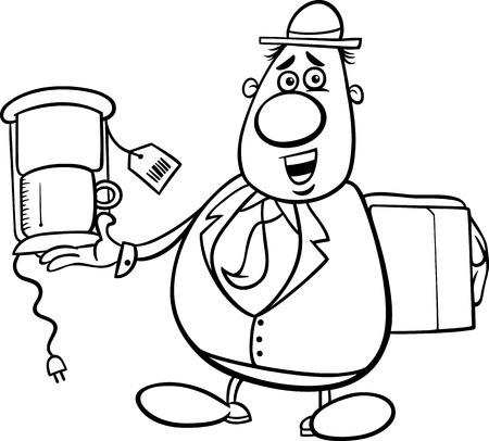 trickster: Black and White Cartoon Illustration of Funny Salesman or Bagman with Coffee Maker for Coloring Book Illustration