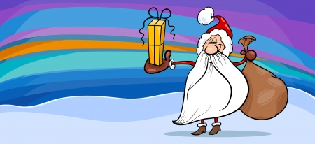 Greeting Card Cartoon Illustration of Santa Claus with Sack and Christmas Present Vector