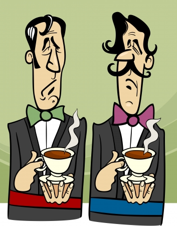 dignified: Cartoon Illustration of Two Dignified Gentlemen with Cup of Tea