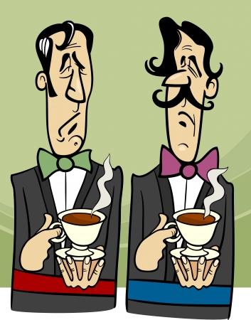 sullen: Cartoon illustrazione di due Signori Dignified con tazza di t�