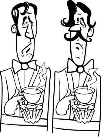 dignified: Black and White Cartoon Illustration of Two Dignified Gentlemen with Cup of Tea