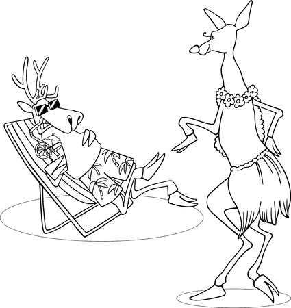 roe: Black and White Cartoon Illustration of Cute Doe or Roe dancing Hula Dance in front of the Deer on the Beach for Coloring Book