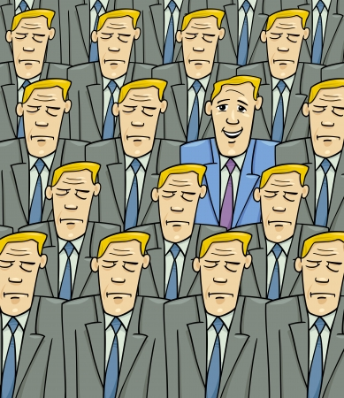 Cartoon Concept Illustration of Happy Man or Businessman in the Crowd of Sad or Serious People