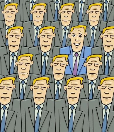 Cartoon Konzept Illustration von Happy Mann oder Geschäftsmann in der Menge von Sad oder Serious Menschen Standard-Bild - 23643655