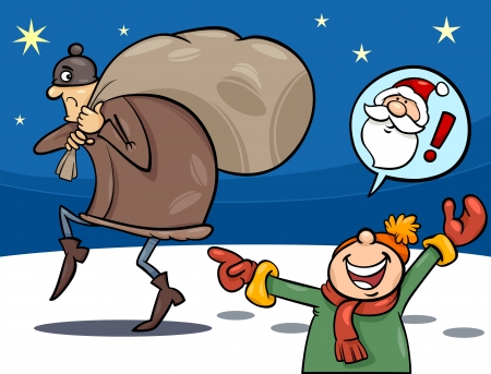 slink: Cartoon Illustration of a Little Boy who mistook the Thief with Santa Claus