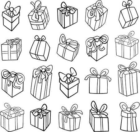 COLOURING: Black and White Cartoon Illustration of Christmas or Birthday Presents or Gifts Objects Clip Art Set for Coloring Book Illustration