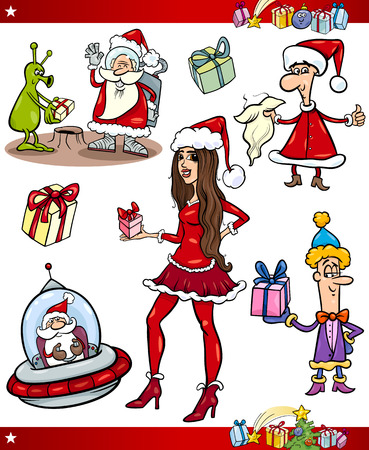 Cartoon Illustration of Santa Claus and Cute Girl with Presents Set Vector