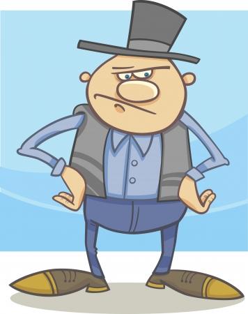 villager: Cartoon Illustration of Old Farmer or Cowboy in the Hat Illustration