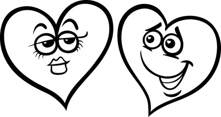 blissful: Black and White Cartoon Illustration of Two Hearts in Love on Valentine Day for Coloring Book