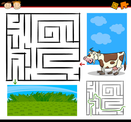 Cartoon Illustration of Education Maze or Labyrinth Game for Preschool Children with Funny Cow Farm Animal Vector