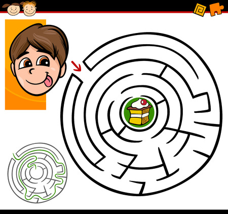 Cartoon Illustration of Education Maze or Labyrinth Game for Preschool Children with Cute Boy and Tasty Cake Vector