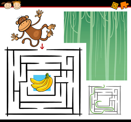 maze: Cartoon Illustration of Education Maze or Labyrinth Game for Preschool Children with Funny Monkey Wild Animal Illustration