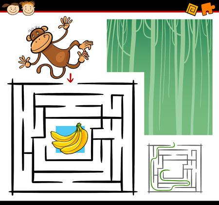mono caricatura: Ilustraci�n de dibujos animados de Maze Educaci�n o Juego Laberinto para los ni�os en edad preescolar con Mono divertido Wild Animal Vectores