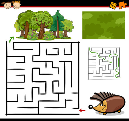 Cartoon Illustration of Education Maze or Labyrinth Game for Preschool Children with Funny Hedgehog Animal Vector