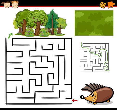 Ilustración de dibujos animados de Maze Educación o Juego Laberinto para los niños en edad preescolar con Funny Animal del erizo Vectores
