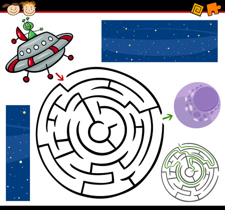 Cartoon Illustration of Education Maze or Labyrinth Game for Preschool Children with Funny Alien Character and Space Vector