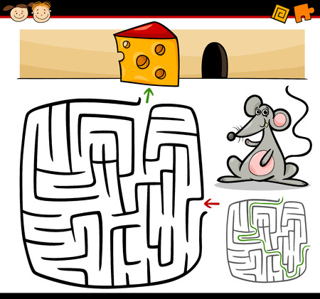 Cartoon Illustration of Education Maze or Labyrinth Game for Preschool Children with Funny Mouse Animal and Cheese Vector