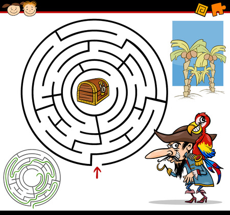 Cartoon Illustration of Education Maze or Labyrinth Game for Preschool Children with Funny Pirate with Parrot and Treasure