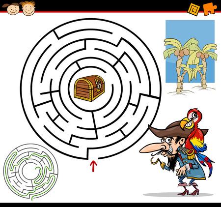 Ilustración de dibujos animados de Maze Educación o Juego Laberinto para los niños en edad preescolar con pirata divertido con el loro y el tesoro
