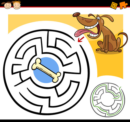 Cartoon Illustration of Education Maze or Labyrinth Game for Preschool Children with Funny Dog and Dog Bone Vector