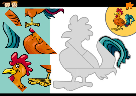 Cartoon Illustration of Education Jigsaw Puzzle Game for Preschool Children with Funny Rooster Farm Bird Vector