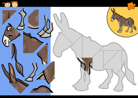 Cartoon Illustration of Education Jigsaw Puzzle Game for Preschool Children with Funny Donkey Farm Animal Vector