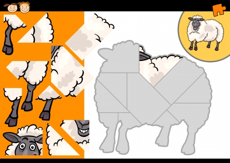 Cartoon Illustration of Education Jigsaw Puzzle Game for Preschool Children with Funny Sheep Farm Animal Vector