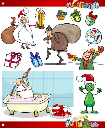Cartoon Illustration of Santa Claus and Christmas Presents and Themes Set Vector
