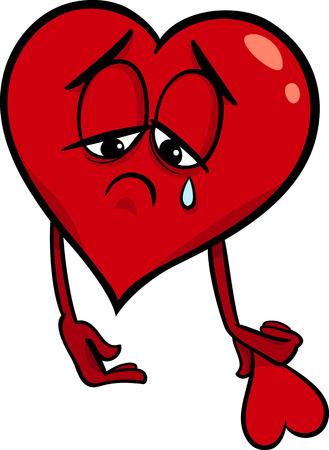 Cartoon Illustratie van Sad Gebroken Hart in Liefde op Valentijnsdag